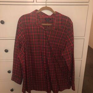 Land's End plaid button down size 24